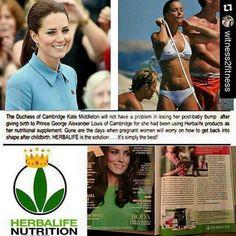 """""""A Duquesa de Cambridge Kate Middleton não tem problemas na recuperação pós parto. Ela usa os produtos da Herbalife como suplementos nutricionais. Já vão muito longe os dias em que as mulheres grávidas tinham que se preocupar como voltar para moldar o corpo no pós parto. Herbalife é a solução ... É simplesmente o melhor! ...!"""""""