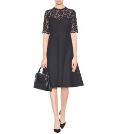 Black lace-panelled dress