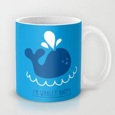 I'm whaley happy Coffee Mug by teeandtoast Happy Coffee, Coffee Mugs, Rocks, Toast, Tableware, Dinnerware, Dishes, Stone, Batu