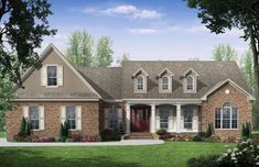 This Country  House Plan includes 3 bedrooms / 2.5 baths in 2000 sq ft of living space.  Its open floorplan layout is flexible and is ideal for your growing family.  Best of all, its designed to be affordable to build and includes all of the most popular features you're looking for in your next home design.    #houseplan #dreamhome #HPG-20002 #HousePlanGallery #houseplans #homeplans House Plans One Story, New House Plans, Story House, Country Style House Plans, Country Style Homes, Southern Style, Country Houses, Monster House Plans, Traditional House Plans