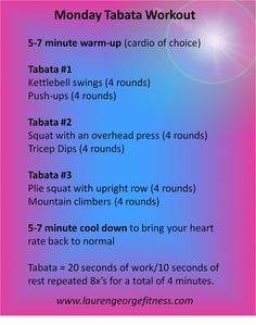 Total body tabata workout. All you need is a kettlebell and 30 minutes for a kick butt workout.