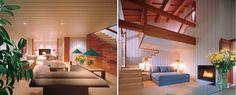 (L) Living Room. (R) Stairwell. (Giorgio Armani farmhouse, Forte dei Marmi, Italy, Architectural Digest, Photos by Jaime Ardiles-Acre, 1983.)