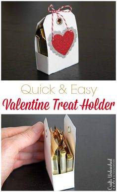 Treat Holder For Valentine's Day: Crafts Unleashed Here's a fun, unique & inexpensive treat holder idea. Made from a couple of pre-made tags, it's the perfect size to hold little treats & easily customized! Valentines Treats Easy, My Funny Valentine, Valentine Day Crafts, Kids Valentines, Handmade Valentine Gifts, Valentine Cards, Handmade Christmas, Ghirardelli Chocolate Squares, Neli Quilling