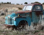 Old Blue Chevy Truck - Big Art Photograph 20x30  Vintage 1952 Chevy Truck - Antique Aqua Pickup - Turquoise Blue Farm Truck.