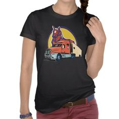 Horse Head and Semi Truck for Truck Drivers T-Shirt  c02fddb65962