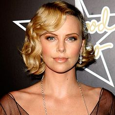 let's go a little bronzy for the california girl Charlize Theron - Hollywood Waves - Get Hollywood Hair - Hair - InStyle Vintage Short Hair, Vintage Wedding Hair, Short Wedding Hair, Wedding Hair And Makeup, Hair Makeup, Gold Makeup, Vintage Bob, Wedding Dress, Eye Makeup