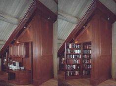 Revolving bookcase wall (via Luxury Housing Trends) Revolving Bookcase, Hidden Door Bookcase, Bookcase Desk, Bookshelves, Secret Passage, Hidden Rooms, Hidden Spaces, Small Spaces, House Ideas