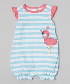 82005b5ca662 Blue Stripe Flamingo Romper - Infant Little Girl Outfits