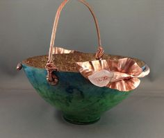 Calla Lily Rose Quartz and Copper Gourd Basket by AngelsGourden, $45.00
