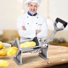 Costway Potato French Fry Fruit Vegetable Cutter Slicer Commercial Quality W 4 Blades, Silver stainless steel Fried Potato Chips, Potato Slicer, Potato Cutter, French Fry Cutter, Fast Food Restaurant, Restaurant Equipment, Potato Vegetable, Chips Recipe, Steel House