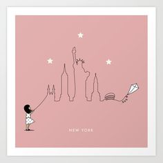 New York Skyline Kite Art Print by keindesign Buy Frames, Kite, Travel Posters, Printing Process, Nursery Decor, New York Skyline, Gallery Wall, Art Prints, Products