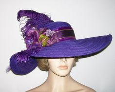 Purple Tea Party Hat Extra wide brim Kentucky by GlitzOfFlorida