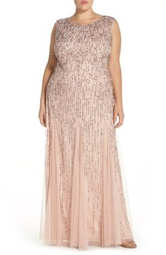 Adrianna Papell Beaded A-Line Gown (Plus Size) available at #Nordstrom