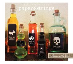 paper and strings studios: halloween bottle labels