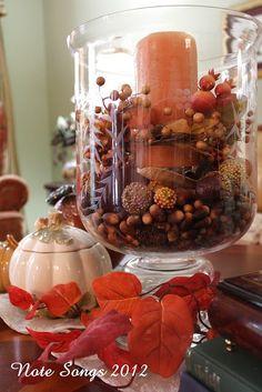 fall tablecape ideas - hurricane lamp