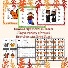 October and November Themed Printables – Math and Word Work – Bundle Kindergarten Lesson Plans, Teaching Kindergarten, Sight Word Games, Sight Words, Hands On Activities, Kindergarten Activities, Mega Pack, Help Teaching, School Lessons
