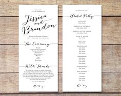 Whimsical typography sets the tone for this classic black & white wedding program. Can be customized to suit any event or color theme.  This listing is for a DIGITAL FILE, it must be printed by you. Print as many you like! (Paper Route Collective now offers professional printing at an additional fee. For more information or to request a quote for printed items, please send me a message.)  - YOU WILL RECEIVE - • x1 Digital Program, Double Sided (4x9)  - INFORMATION I WILL NEED - Please…