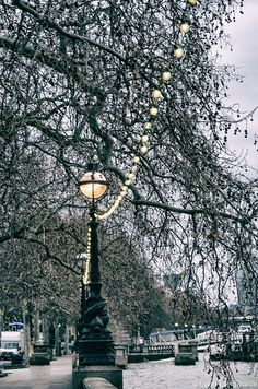 "London Photography-  london street lamp blue 11x14 lights thames river snow 8x10 travel photography winter london print 16x20 ""Snowy Day"""