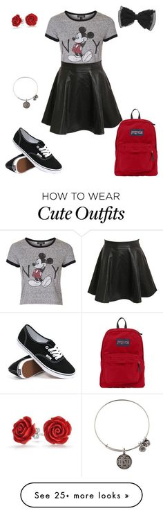 """""""Cute School Outfit for Spring"""" by luvbacon on Polyvore featuring Topshop, Vans, JanSport, Alex and Ani and Bling Jewelry"""