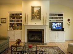 Custom Projects Shelving by Fireplace