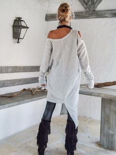 9cb2b7a1d19b Winter Warm Wool Boucle Dress Tunic   Off White Asymmetric Casual Hijab  Outfit