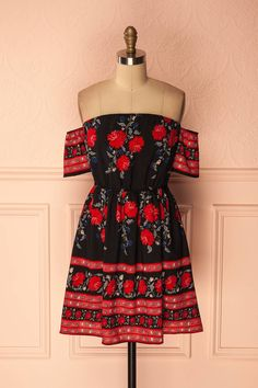 Ezzah #Boutique1861 / Black and red floral sundress, a lovely flowery outfit. #valentinesday #floraldresses