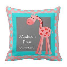 Cute Giraffe w Name & Birthday; Cute Pillows, Kids Pillows, Decorative Throw Pillows, Birthday Roses, Baby Birthday, Big Sister Gifts, Cute Giraffe, Colorful Roses, New Baby Gifts