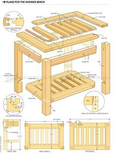 Shower Bench Plans - Furniture Plans and Projects - Woodwork, Woodworking, Woodworking Plans, Woodworking Projects Used Woodworking Tools, Woodworking Bench Plans, Woodworking Basics, Woodworking Furniture, Furniture Plans, Woodworking Projects, Woodworking Magazines, Diy Furniture, Build Your Own Garage