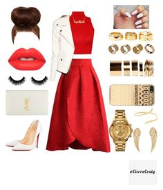 """""""Happy Holidays"""" by cierracraig on Polyvore featuring Chicwish, WearAll, Christian Louboutin, Yves Saint Laurent, Charlotte Russe, Warehouse, Boohoo, Zero Gravity, Dinny Hall and Lime Crime"""