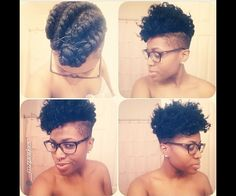 Flat twist out. Shaved sides