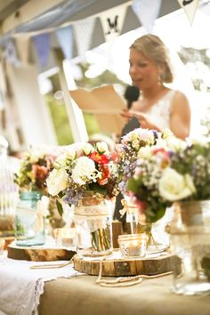 Jars, log rounds, pearls and antique centrepieces. Centerpieces, Table Decorations, Naturally Beautiful, How To Distress Wood, Special Events, Wedding Events, Wedding Flowers, Table Settings, Rustic Weddings
