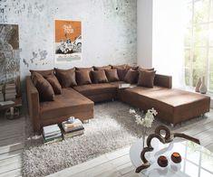 Couch Clovis XXL Braun 300x185 cm mit Hocker und Kissen - wie gehabt nur in Microvelour Lederoptik...