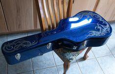 Old school metal flake, cobalt blue candy, tribal graphics Guitar Painting, Air Brush Painting, Pinstriping Designs, Tori Kelly, Custom Airbrushing, Blue Candy, Guitar Case, Letter Art, Custom Paint