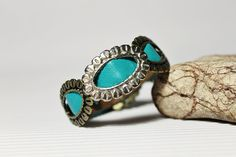 Turquoise Leather Bracelet With Oval Buckles by Justlena on Etsy