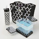 Fit & Fresh Signature Collection Perth Insulated Carry-All Bag with Matching Lunch Set (Black & White Ikat Tile) : New Arrivals