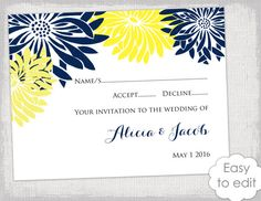 RSVP cards template with a yellow and navy Flower burst design for you to make you own yellow and gray DIY printable response cards, just add your own text, print and trim. You can print as many as you like. You can use this template in Microsoft Word or any other program that is compatible with Word files  Matching wedding stationery items available in my shop https://www.etsy.com/shop/diyweddingsprintable/search?search_query=flower+burst+navy+yellow  Product de...