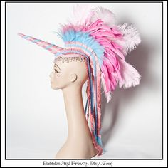 Cute as Sky.. Unicorn Headdress with Feather by BubblesAndFrown, $246.66