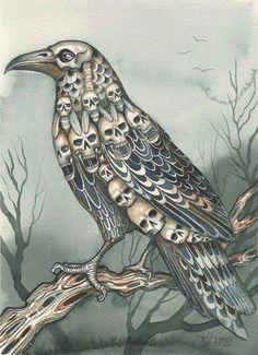 Crow / Raven With Skulls Mixed With Feathers. Crow Art, Raven Art, Memento Mori, Quoth The Raven, Ange Demon, Jackdaw, Crows Ravens, Skull Art, Bird Skull