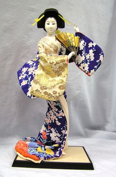 "Japanese Kimono Geisha Gofun Doll 18"" Holding Folding Fan MAIOOGI by MermeowTreasures, $35.00"
