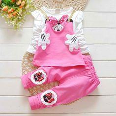 Baby Girls Minnie Bow Suit Long Sleeved T-shirt Pants set Girls Pjs, Baby Girl Pajamas, Boys Pajamas, Baby Girls, Disney Outfits, Kids Outfits, Toddler Fashion, Kids Fashion, Minnie Bow