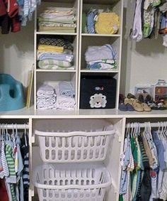 Try laundry baskets to help organize and add storage to a closet like Around the Farmhouse Table did for this baby nursery! Closet Organizing Hacks and Tips. Home Improvement and Spring Cleaning Ideas for your Nest. Ideas on Frugal Coupon Living. Organizar Closet, Kid Closet, Closet Ideas, Closet Space, Shared Closet, Master Closet, Closet Redo, Cheap Closet, Corner Closet
