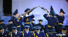 The drill team of the Belarusian Air Force Guard of Honor performing at the 2013 Spasskaya Tower Moscow International Military Music Festival.