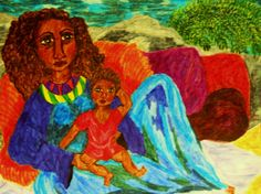 Marker Painting Madonna Mother and Child 2015-1 by StaceyTorresART $175 Original Only on 11x14 acrylic paper. Religious Art, Madonnas of Color