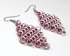 Pale pink chainmail earrings made with square wire by TattooedAndChained, $20.00