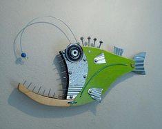 Fish Wall Art, Fish Art, Fish Sculpture, Wall Sculptures, Steampunk Theme, Mechanical Art, Wood Fish, Fisherman Gifts, Angler Fish