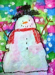 Snowman art. Tissue paper background.