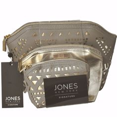 Jones New York Set of 3 Hexagon Shaped Travel Beauty Cosmetic Makeup Bags NWT #JonesNewYork