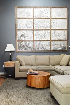 House Crashing: Classic & Natural With A Twist | Young House Love--Ben Moore Gunmetal Gray plus tree chunk.