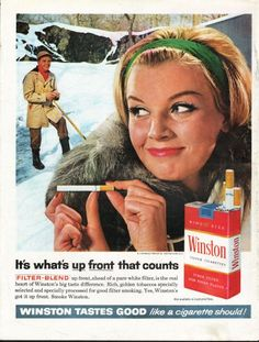 """1962 WINSTON CIGARETTES vintage magazine advertisement """"what's up front"""" ~ It's what's up front that counts - Filter-Blend up front, ahead of a pure white filter, is the real heart of Winston's big taste difference. Rich, golden tobaccos specially ..."""