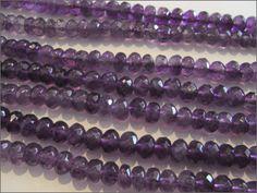 Amethyst Faceted Rondelles - Semi Precious Gemstone Beads UK - The UKs Number #1 Gemstone Bead Supplier